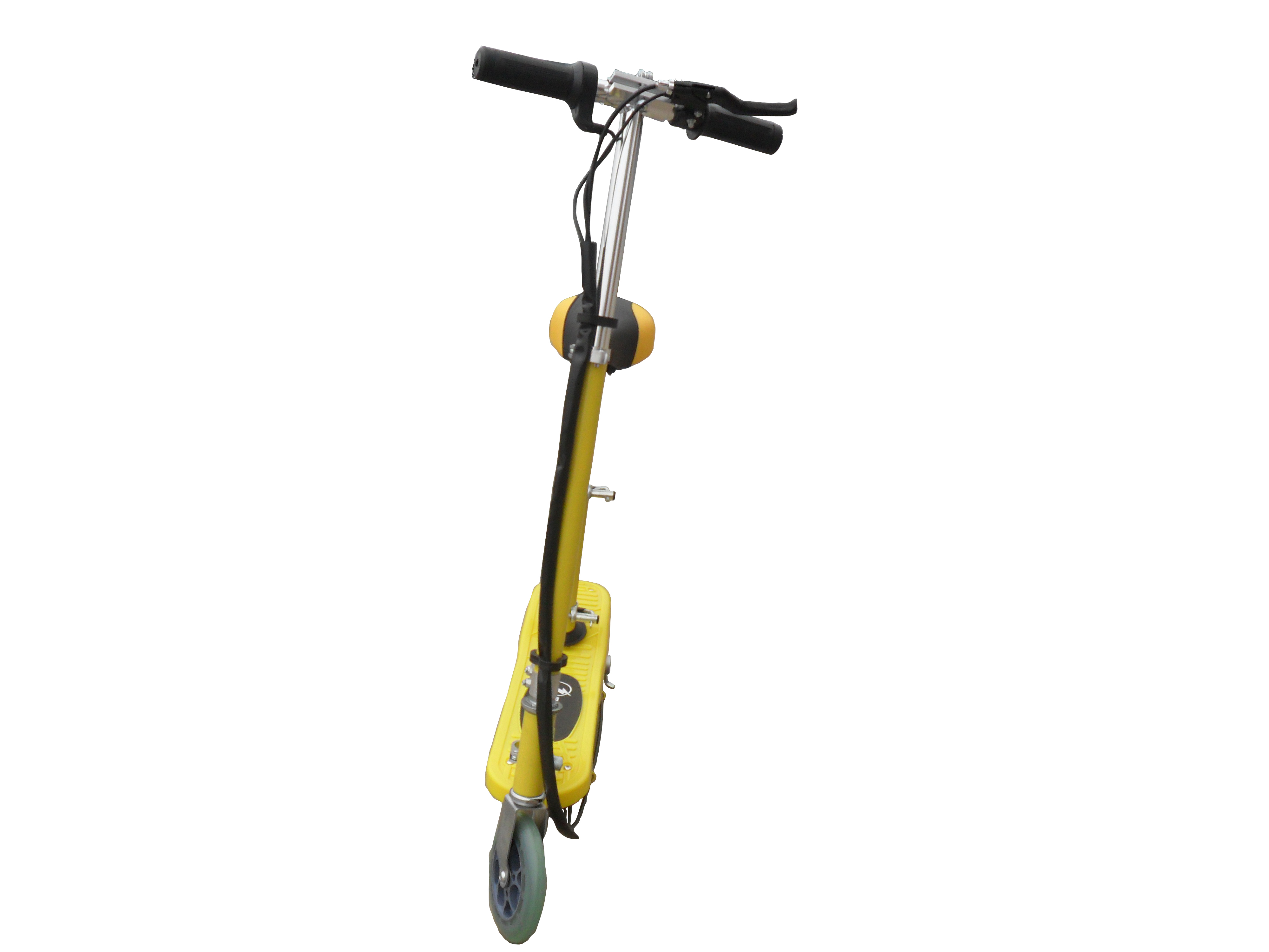 yellow kids electric scooter with seat - eskooter